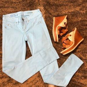 Fade to Blue sky blue super skinny jeans jeggings